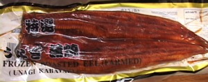 Frozen eel comes pre-cooked and ready to be cut up and microwaved