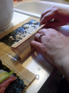 Use the mat to roll everything up nice and tightly