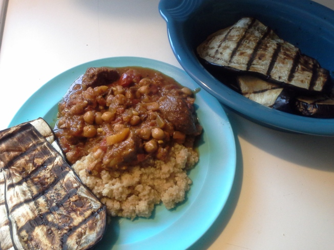 Lamb tagine with herbed couscous and grilled eggplant