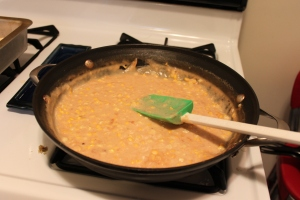 Creamed corn as it thickens