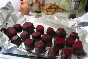 Beets ready for roasting.  (Make some extra because they are like candy!!)