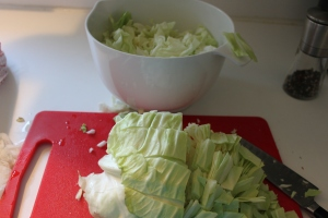 Cutting the cabbage into quarters makes it much easier to tackle