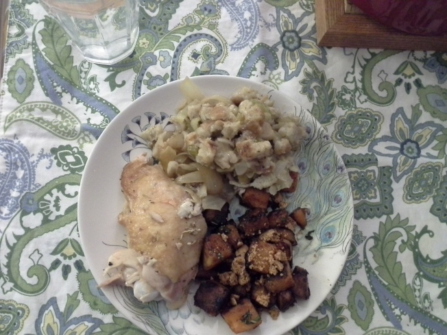 Stuffing with roasted chicken and squash